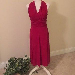 Evan Picone red dress with gathered waist
